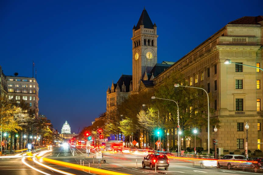 photo of Pennsylvania Ave. at night